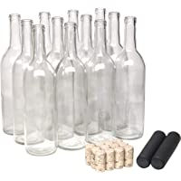 North Mountain Supply 750ml Clear Glass Bordeaux Wine Bottle Flat-Bottomed Cork Finish - with #8 Premium Natural Corks…