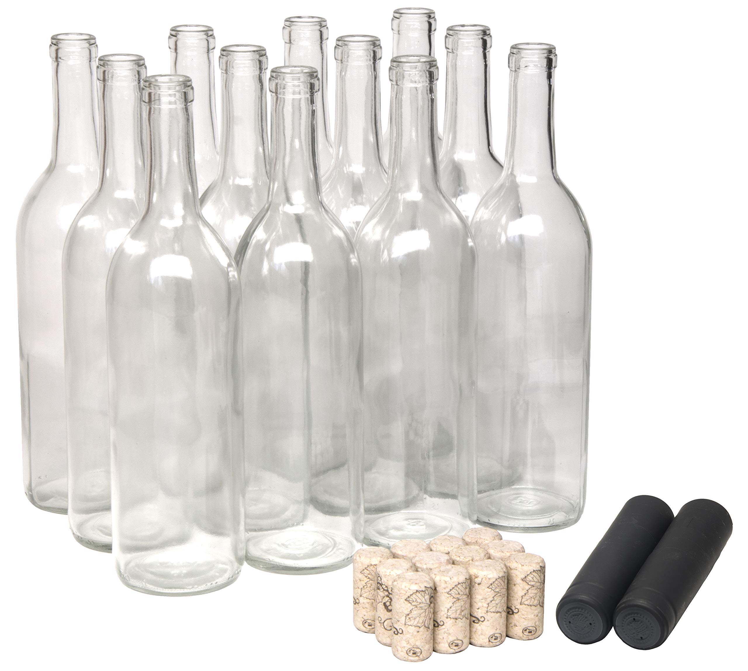North Mountain Supply 750ml Glass Bordeaux Wine Bottle Flat-Bottomed Cork Finish - with #8 Premium Natural Corks & PVC Shrink Capsules - Case of 12