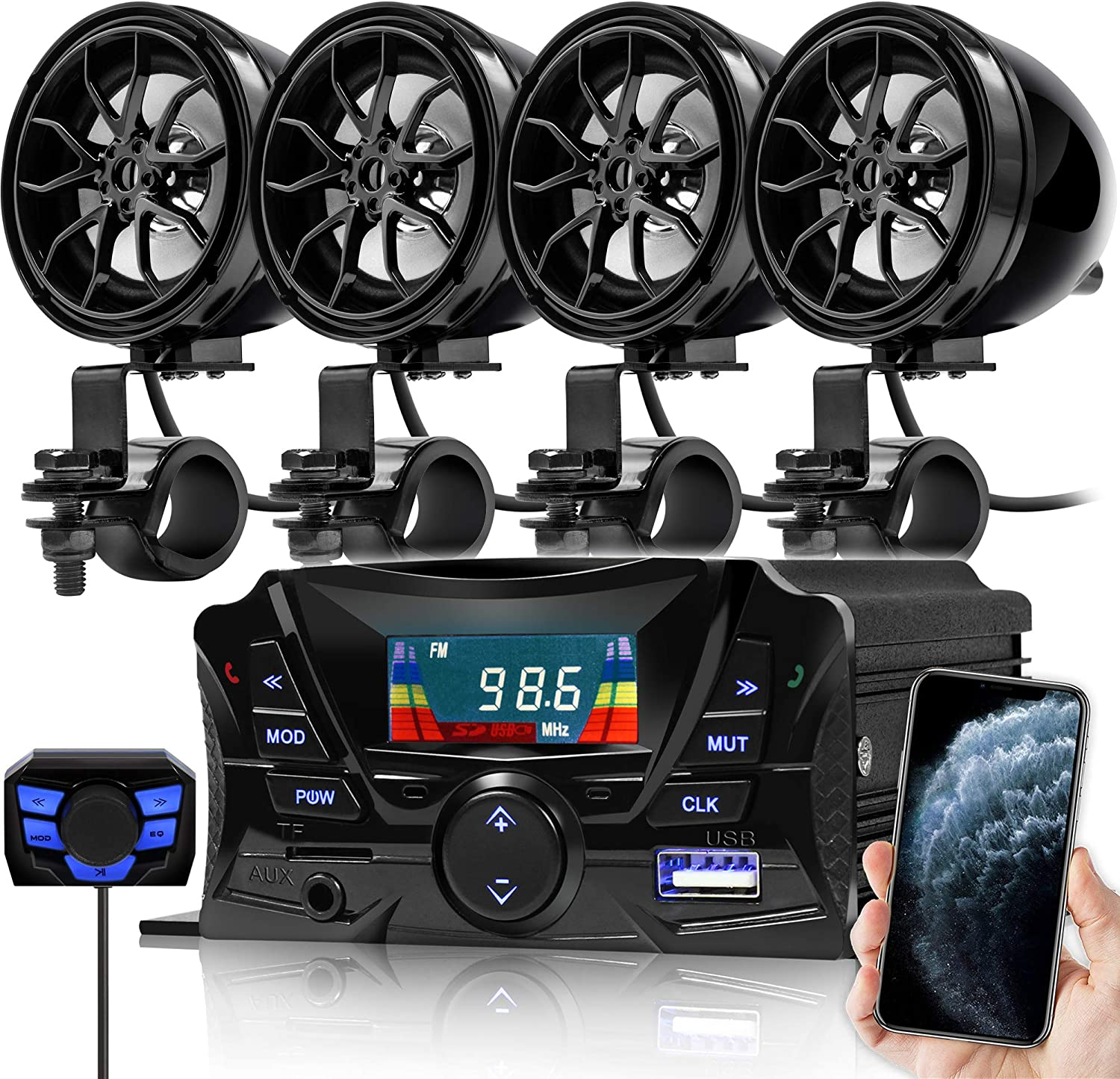 1000W Amplifier Bluetooth Motorcycle Stereo 4 Speakers Audio MP3 System FM Radio