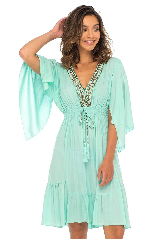 ef42a14b73af Back From Bali Womens Short Sundress Flowy Boho Beach Dress with Beaded  Deep V Neck