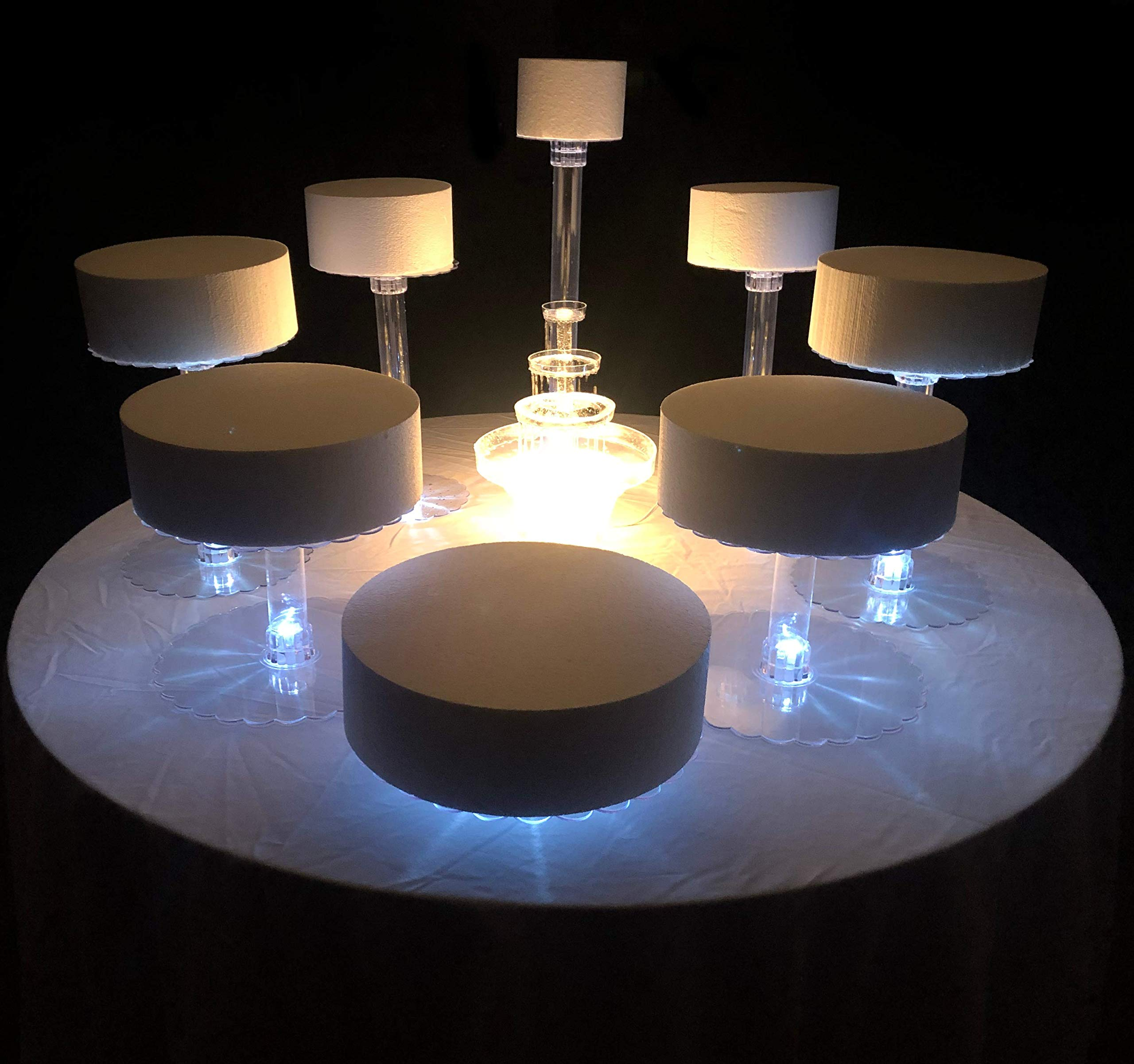 Wedding Cake Stand Eight Tier With LED Lights (With Fountain)
