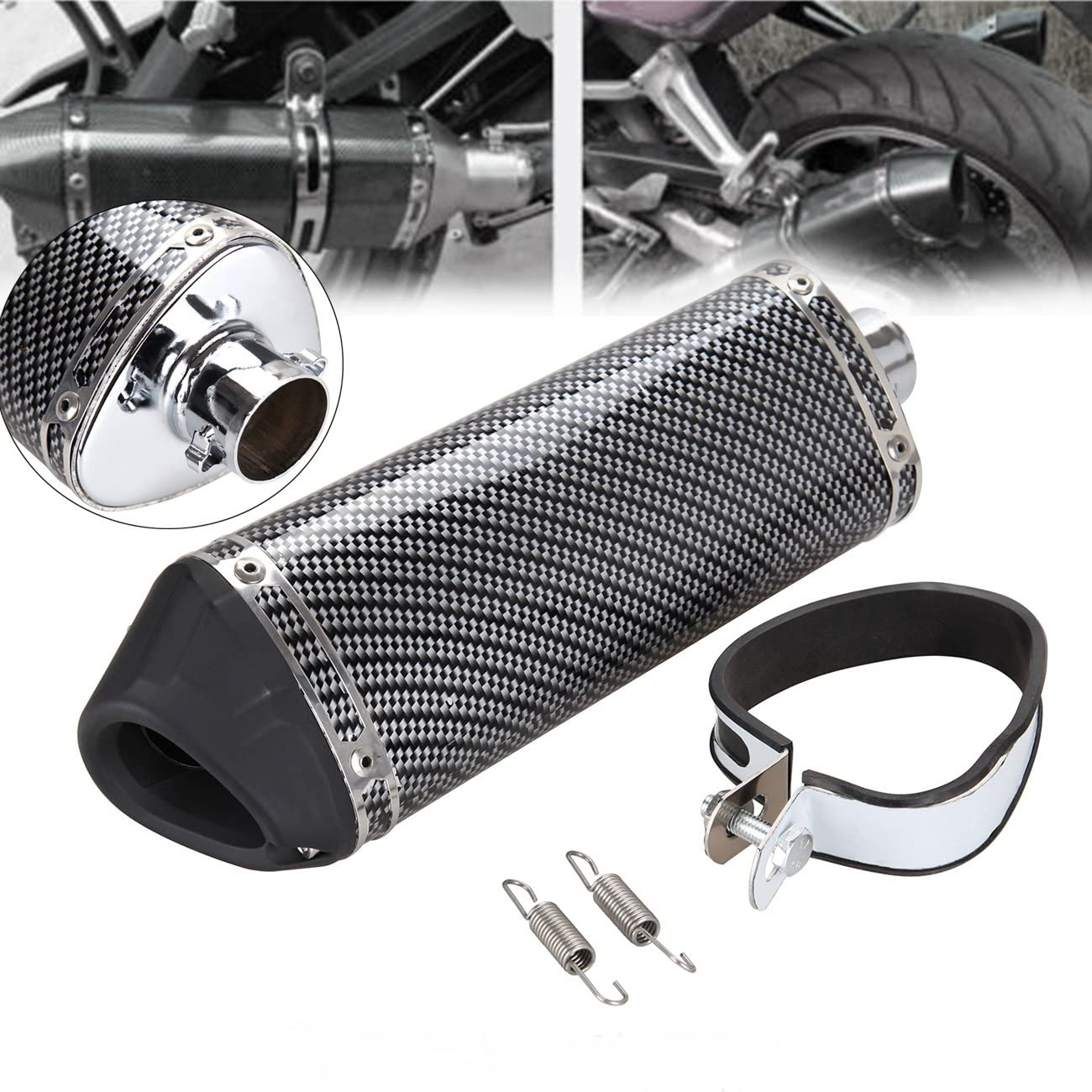 Ridgeyard Universal Kohlefaser Motorrad Auspuff Schalldämpfer Rohr Schalldämpfer Db Killer 38mm Auto