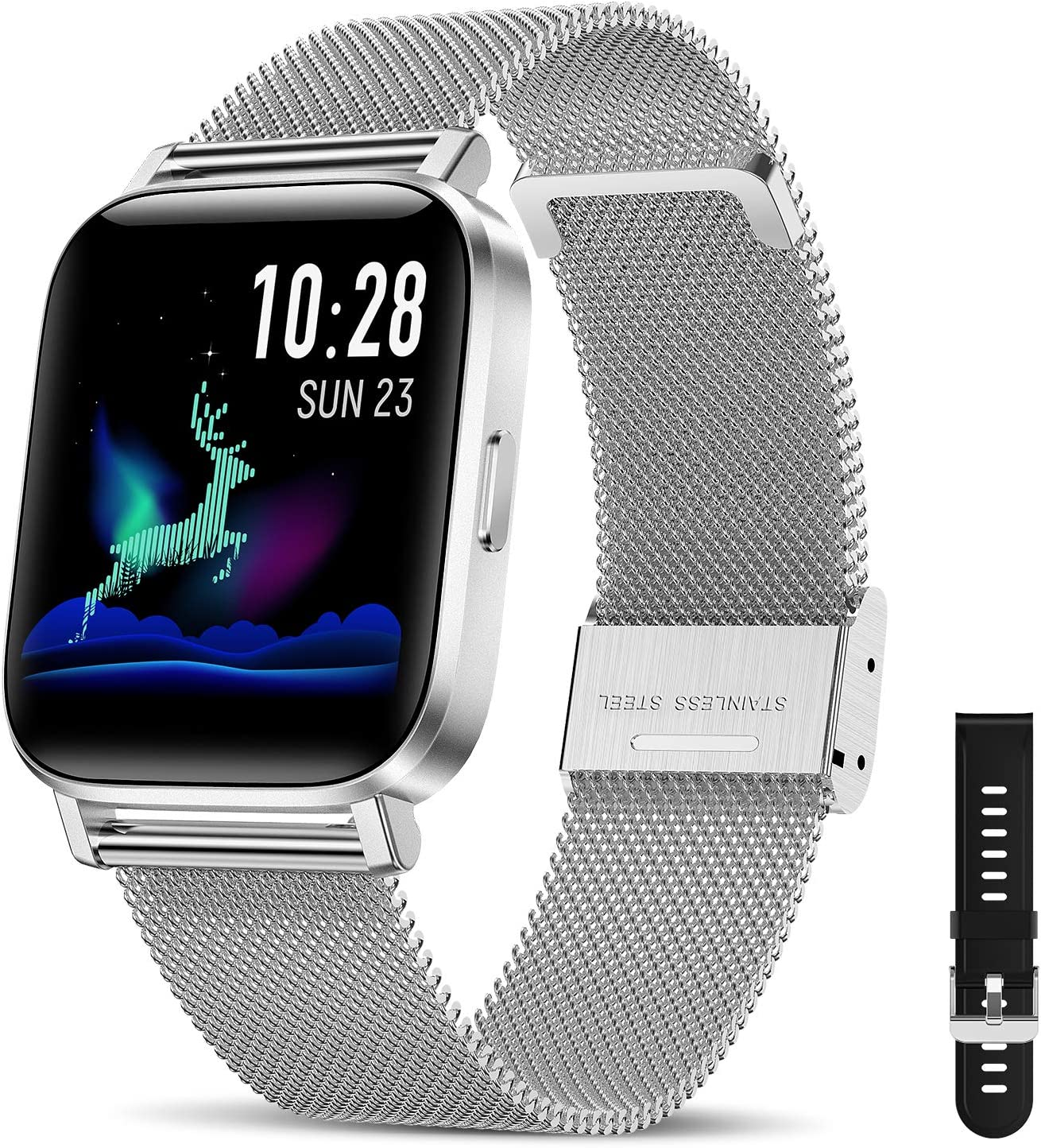 CanMixs Smart Watch for Android Phones iOS Bluetooth Smart Watches for Men Women IP68 Waterproof Sport Smartwatch Fitness Tracker Heart Rate Sleep Monitor Touch Screen Compatible Samsung iPhone