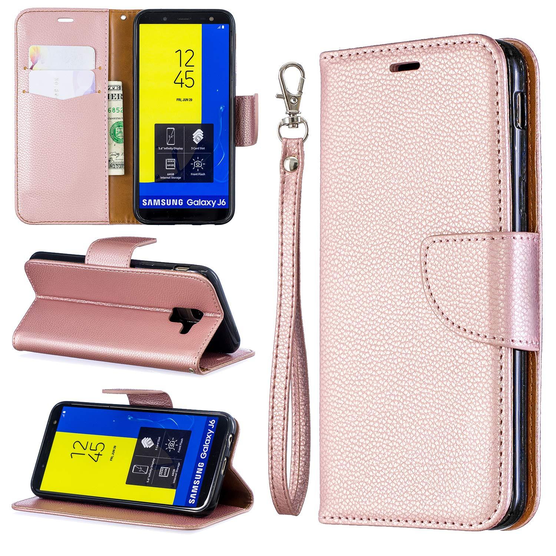 Nadoli f/ür Samsung Galaxy J6 2018 Leder H/ülle,PU Lederh/ülle Flip Case Handytasche Brieftasche Magnetischen Standfunktion Schutzh/ülle f/ür Samsung Galaxy J6 2018,Grau