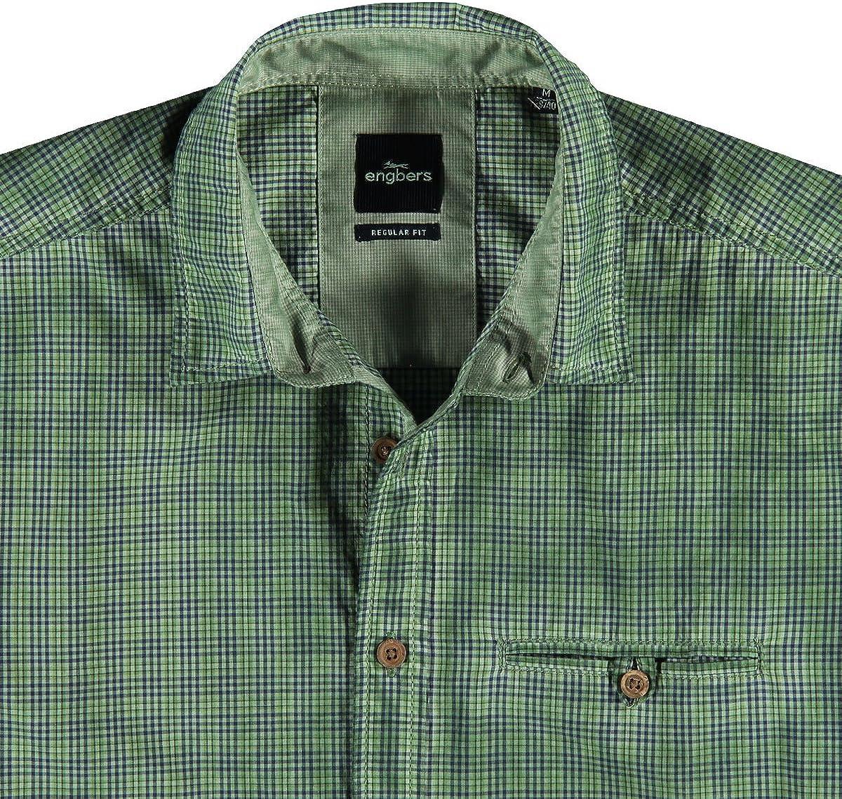 engbers Hombre Camisa Cuadros, 21744, Verde Moosgrün XXX ...