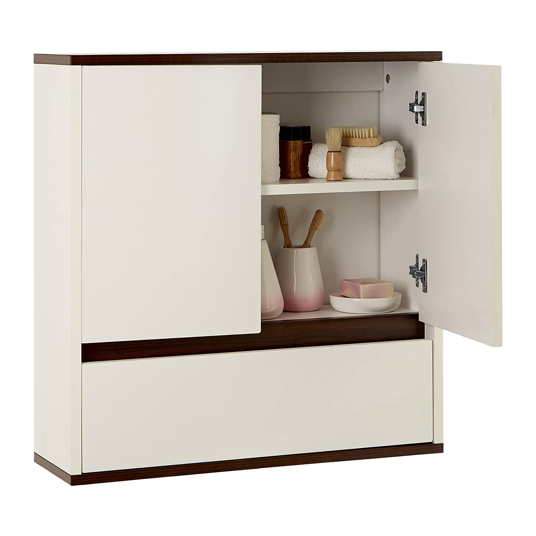 Premier Housewares Chelsea Double Door//1 Drawer Wall Cabinet White//Walnut Veneer
