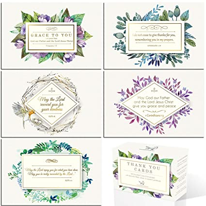 Amazon Com Gold Foil Religious Thank You Cards With Bible Verses
