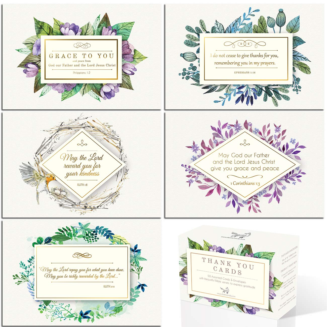 Gold foil Christian Thank You Cards with bible verses | 50 assorted 4x6 Inspirational Note Cards | Boxed Bulk ideal for Communion and Wedding | Religious Spiritual Scripture