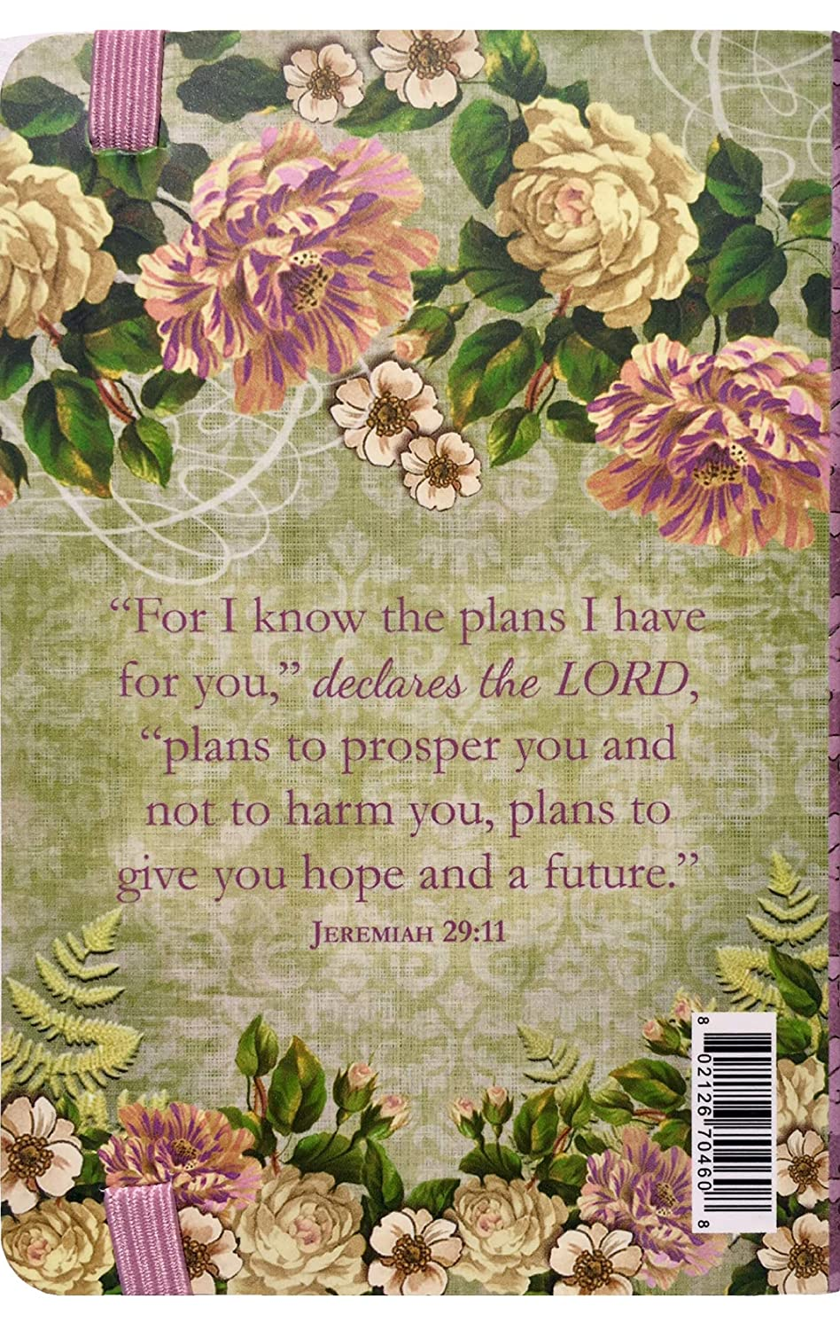 Punch Studio Bungee Pocket Floral Scripture Journal Jeremiah 29:11 I Know The Plans I Have for You 70460