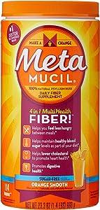 Metamucil Fiber, 4-in-1 Psyllium Fiber Supplement, Sugar-Free Powder, Orange Smooth Flavored Drink, 114 Servings (Packaging May Vary), A747