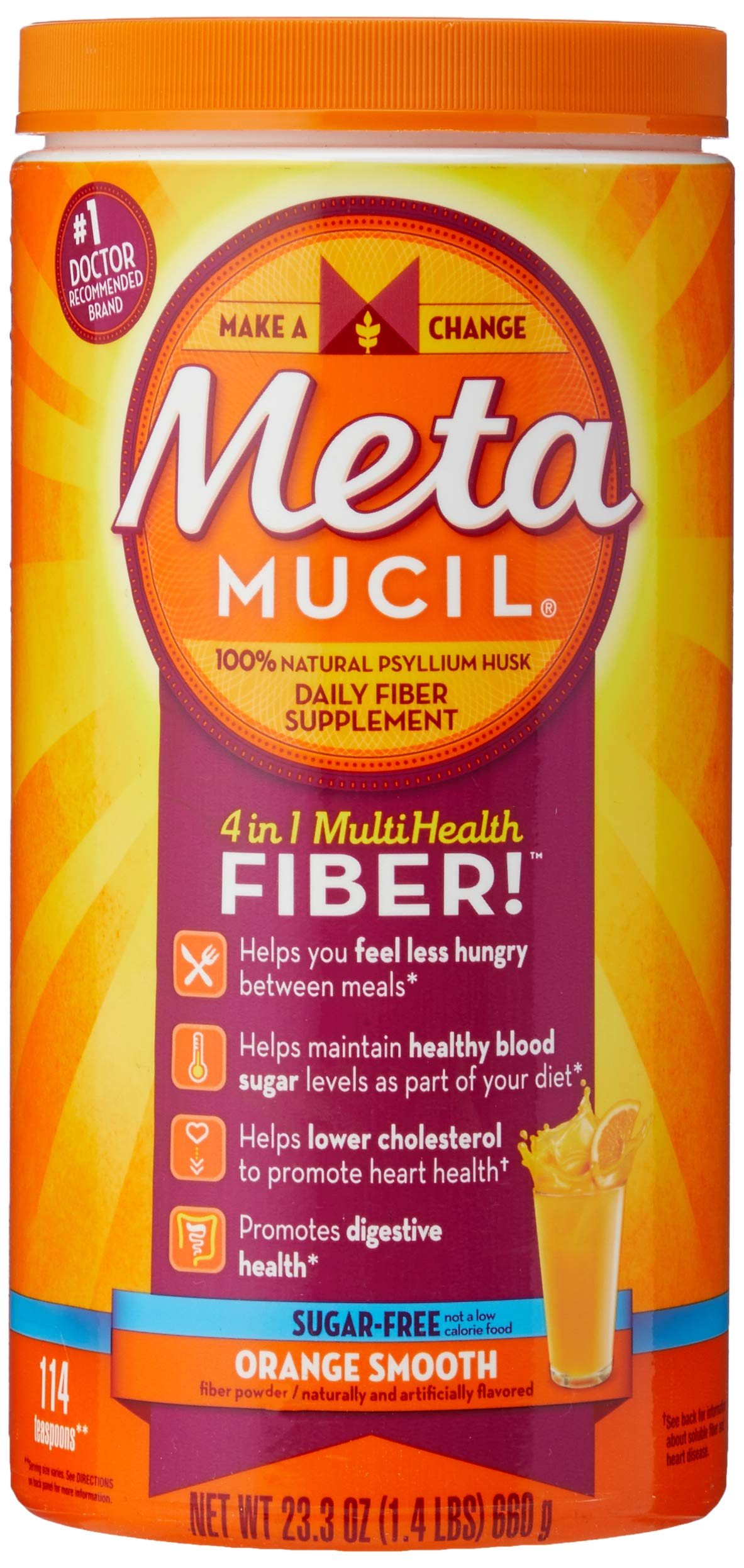 Metamucil Daily Fiber Supplement, Orange Smooth Sugar Free Psyllium Husk Fiber Powder, 114 Doses