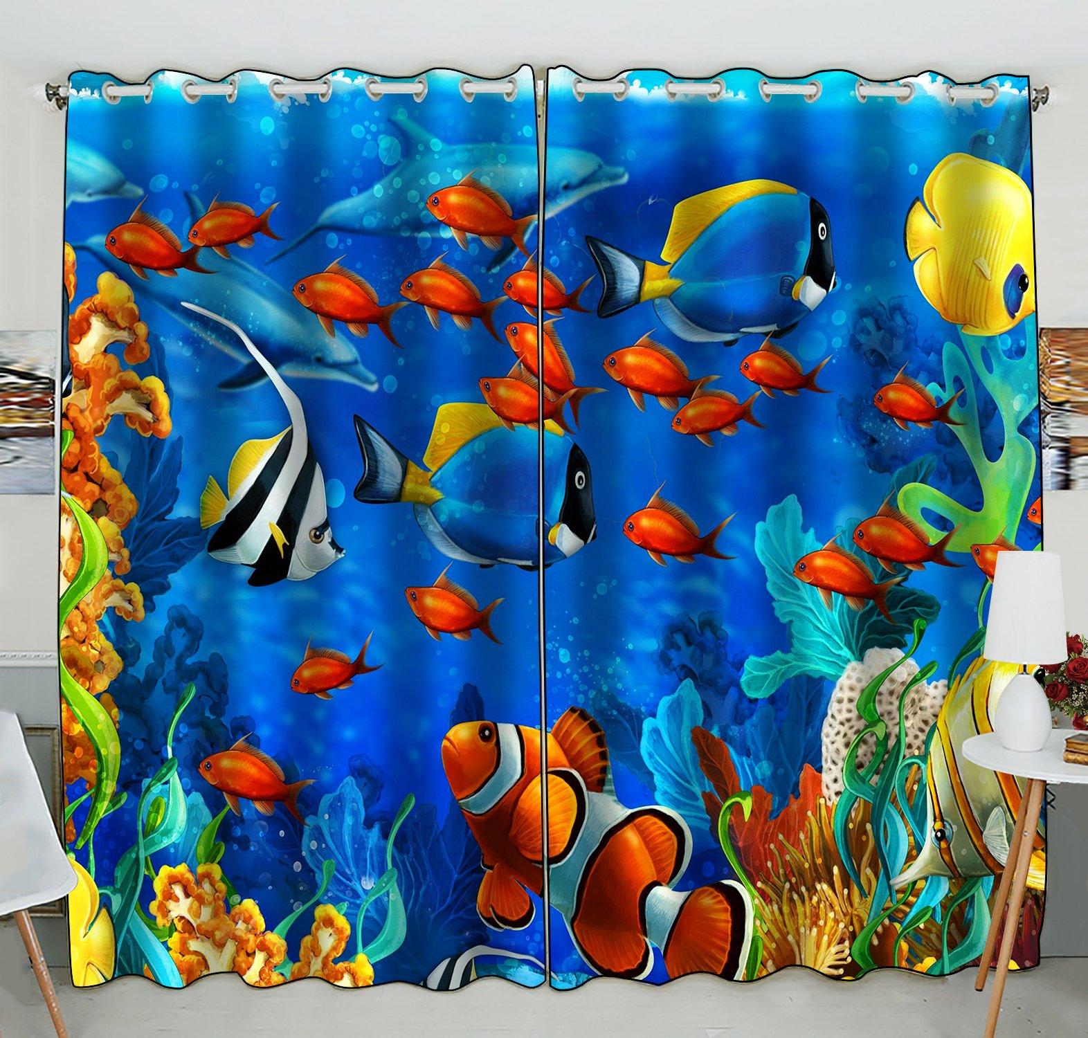 Custom Sea World Window Curtain,Underwater World Ocean Animals Fish Coral Grommet Blackout Curtain Room Darkening Curtains Bedroom Kitchen Size 52(W) x 84(H) inches (Two Piece)