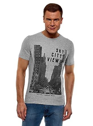 oodji Ultra Hombre Camiseta de Algodón con Estampado Urbano ...