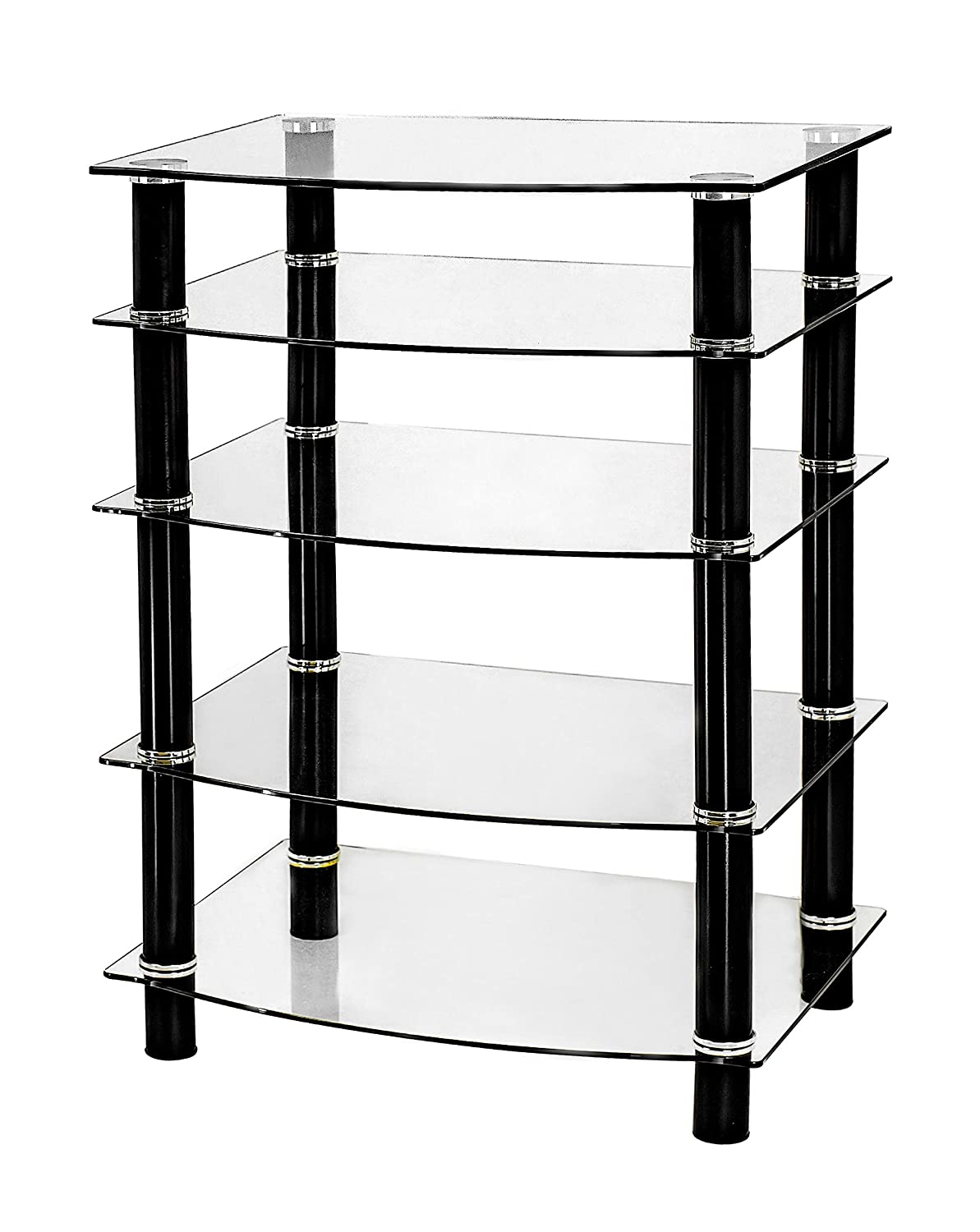 Naomi Home 5 Tier Glass AV Component Media Stand Black/Clear 4330229201