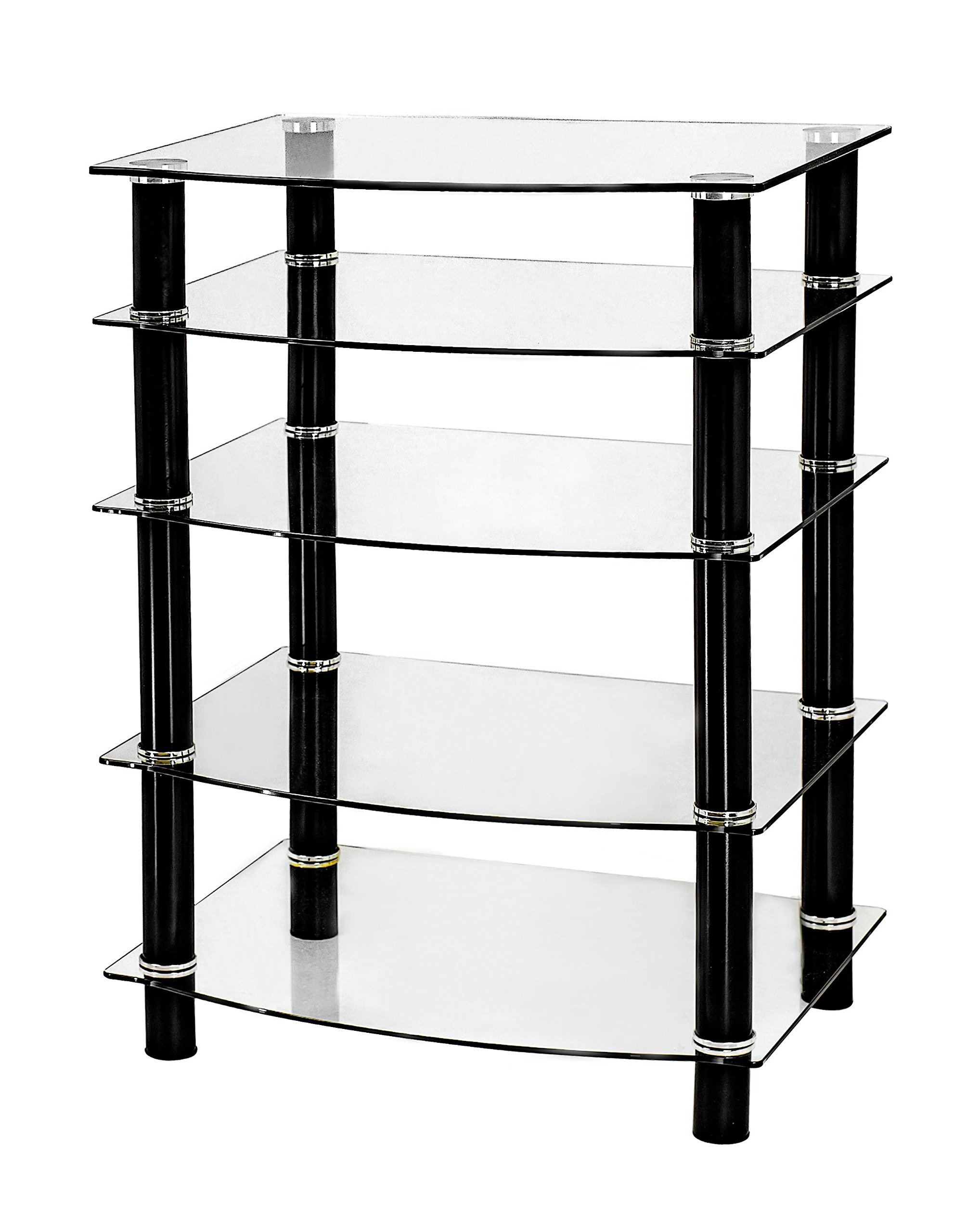 Naomi Home 5 Tier Glass AV Component Media Stand Black/Clear
