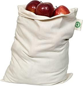 "Food Grade Bulk Storage Bags - Reusable - Organic Cotton Fabric Produce Drawstring Bags - Organic Cotton Muslin Produce Bags - Reusable Natural Cloth Bags - Grain Bags (6, X-Large: 14""x18"")"
