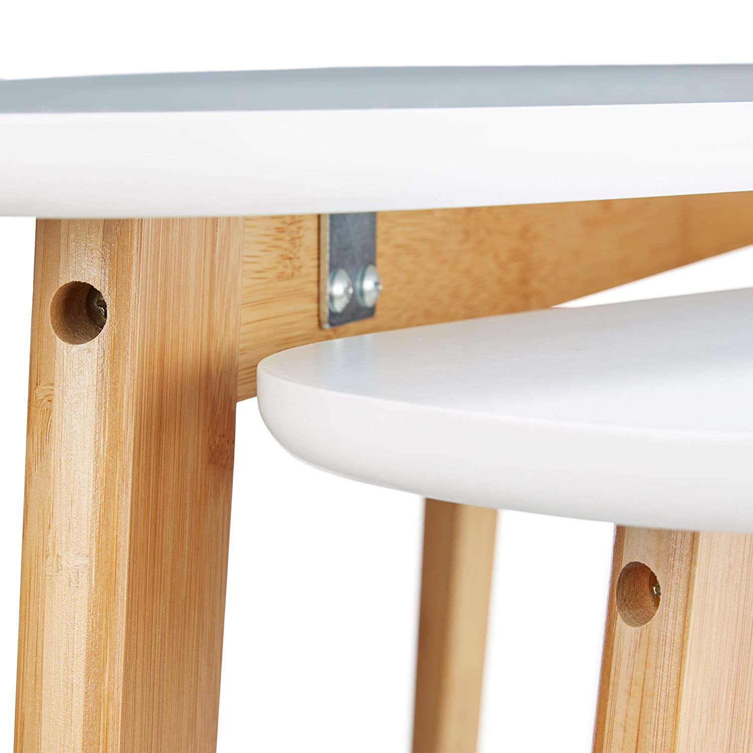 Coffee Tables Relaxdays Set of Wooden Nordic Tables Bamboo Legs White Side//End Tables in 2 Sizes