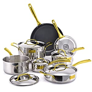 Fleischer & Wolf Nonstick Cookware Set 12pcs Stainless Steel Aluminum Fry Pots Pan Dishwasher Safe (London Upgrade Version)