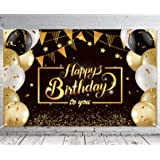 Ouddy Happy Birthday Backdrop Banner, Black Gold Theme Happy Birthday Decorations for Men Women Anniversary Party Background