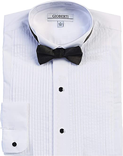 Broadway Tuxmakers New Mens White Wing Tip French Collar Tuxedo Shirt with Studs