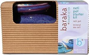Baraka Neti Pot Starter Kit- Handcrafted Ceramic Dishwasher Safe Neti Pot with Box and 2 oz Mineral Sea Salt Rinse for Sinus Relief (Boxed Purple)