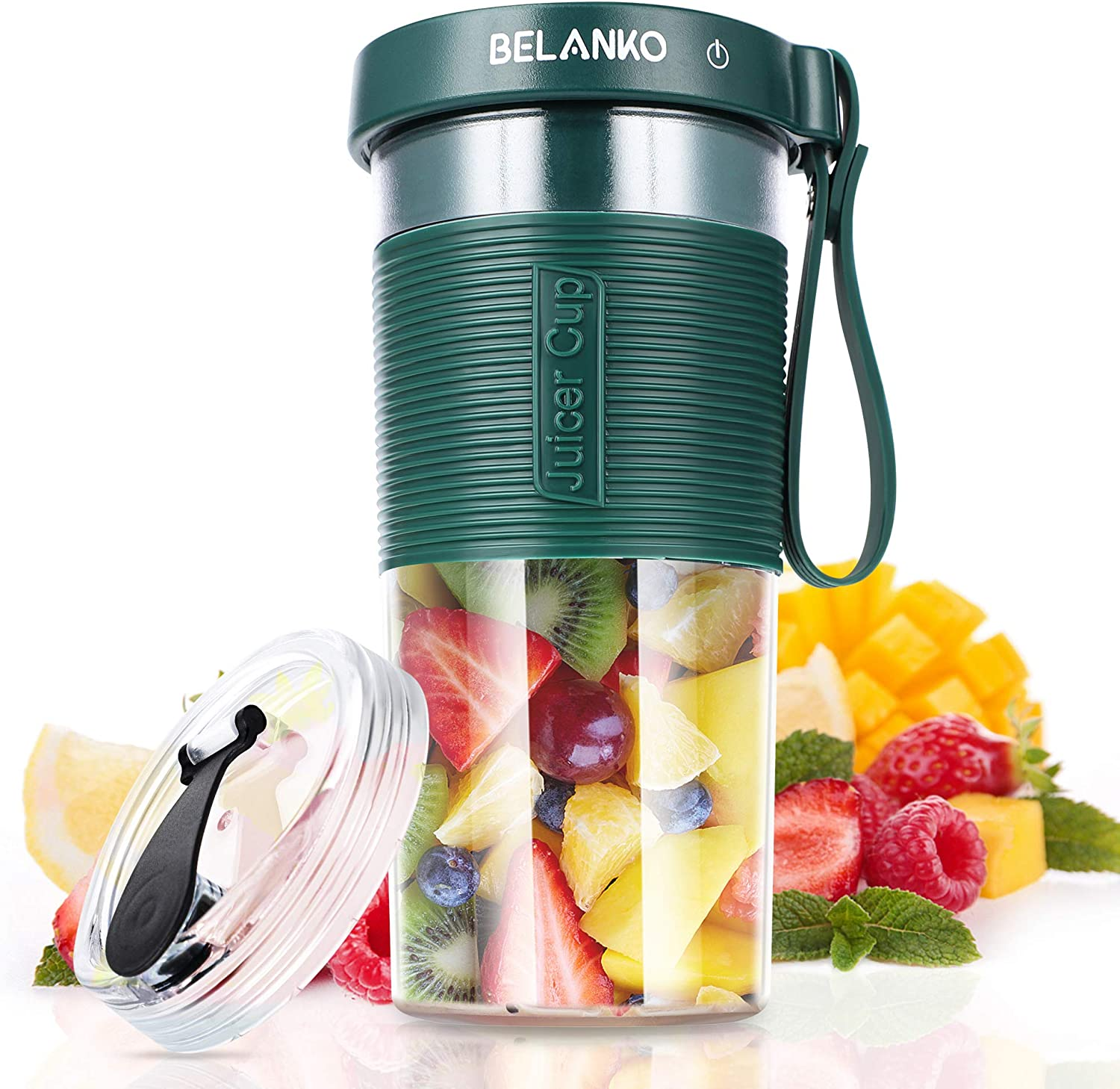 Portable Blender, BELANKO Personal Size Blender for Juice, Shakes and Smoothies, Food Grade Juicer Travel Blender Cup 320/600 ML 60W with USB Rechargeable for Home, Sport, Office, Outdoors - Dark Green