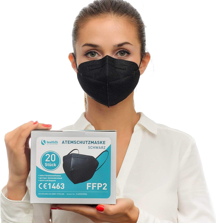 Health2b FFP2 Maske CE Zertifiziert CE1463 Atemschutzmaske Mundschutz DERMATEST® Sehr Gut (20er Pack, Schwarz)