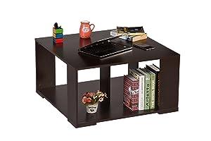 DeckUp Giona Square Wooden Coffee Table (Dark Wenge, Matte Finish)