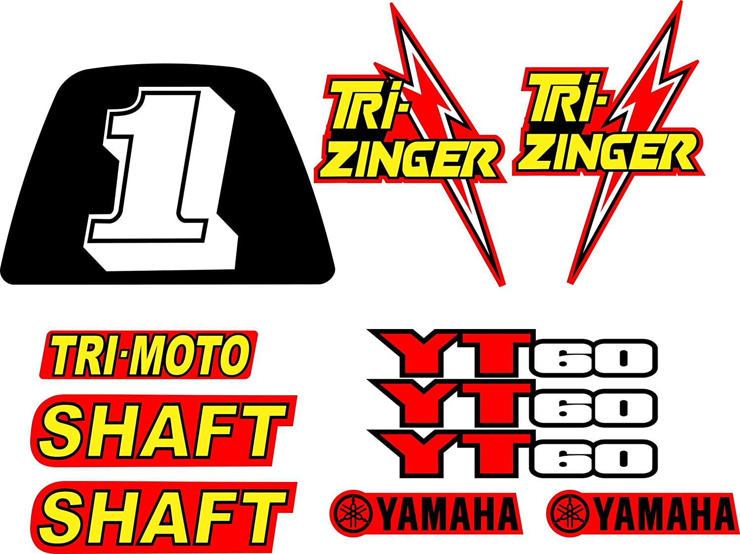 YAMAHA 1984-1985 YT60 TRI-ZINGER DECAL GRAPHIC KIT RED MODEL