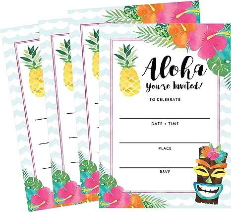 50 Invitaciones Hawaianas De Verano Luau Para Natación Piscina Para Niños Adolescentes Y Adultos Tarjetas De Invitación Para Invitación De Cumpleaños De Verano Invitaciones Para Niños Y Niñas Flores Para Relleno