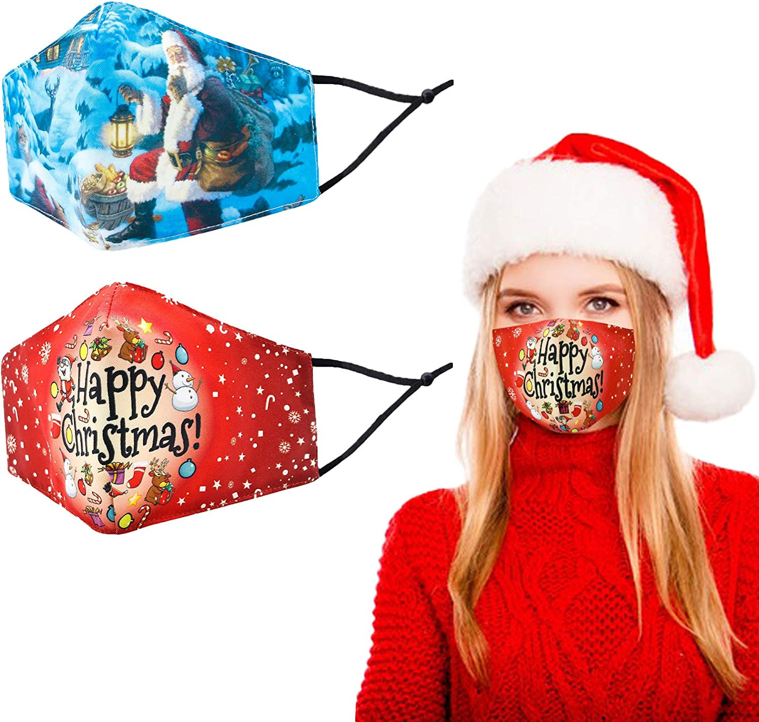 Christmas Reusable 3 Layers Cloth Mask, Washable Cotton Face Cover with Adjustable Elastic Ear Loops