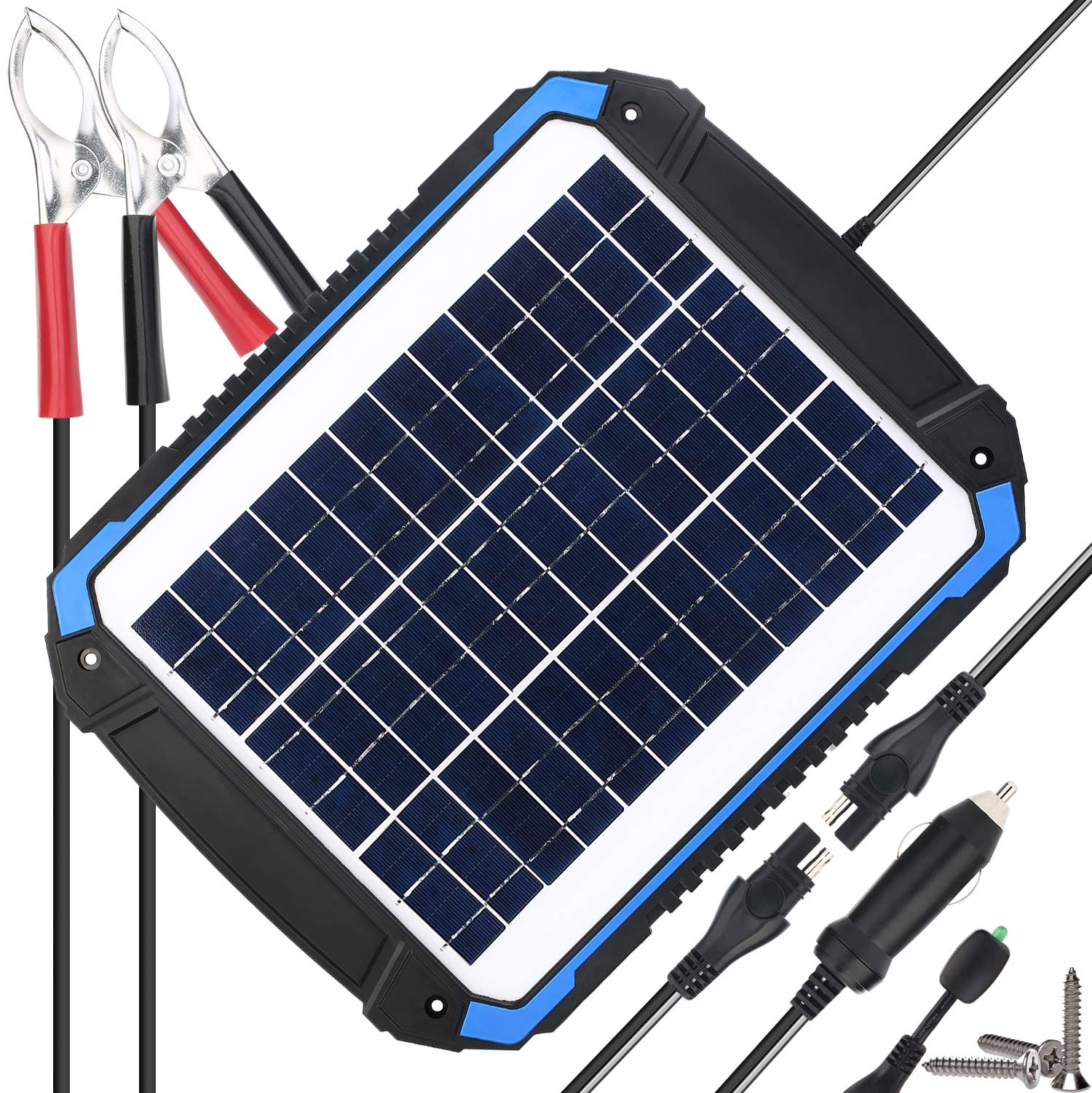 143f5369 SUNER POWER 12V Solar Car Battery Charger & Maintainer - Portable 12W Solar  Panel Trickle Charging