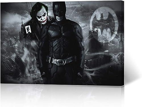 HB Art Design Batman Wall Decor Joker and Batman City Background Canvas Wall Art Print Superhero Character Boy Gift Kids Room Office Dorm Decor Poster Ready to Hang