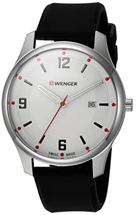 Wenger Mens City Active Swiss Quartz Stainless Steel and Silicone Casual Watch, Color