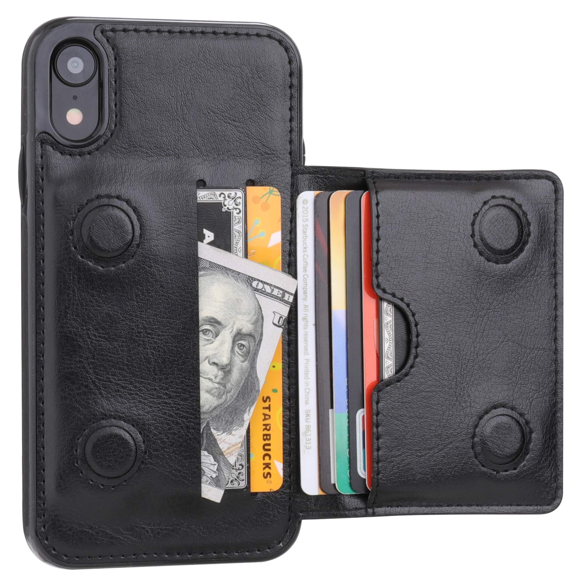 iPhone XR Wallet Case Credit Card Holder, KIHUWEY Premium Leather Kickstand Durable Shockproof Protective Cover iPhone XR 6.1 Inch(Black) by KIHUWEY