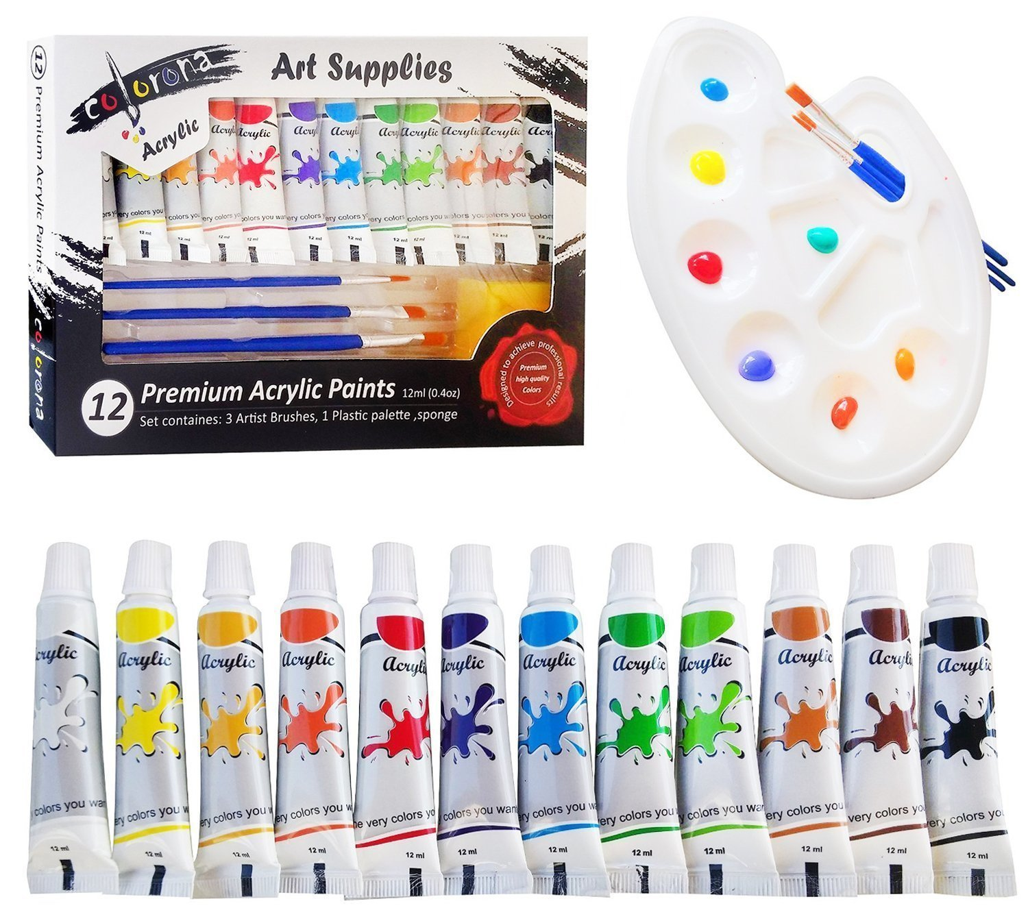 Colorona Acrylic Paint Set with Palette, 3 Paint Brushes and Sponge, 12 ml (12 Colors) For Canvas,Rocks,Wood,Ceramic,Fabric & Crafts. Great For Kids, Beginners,Students & Professional Artist