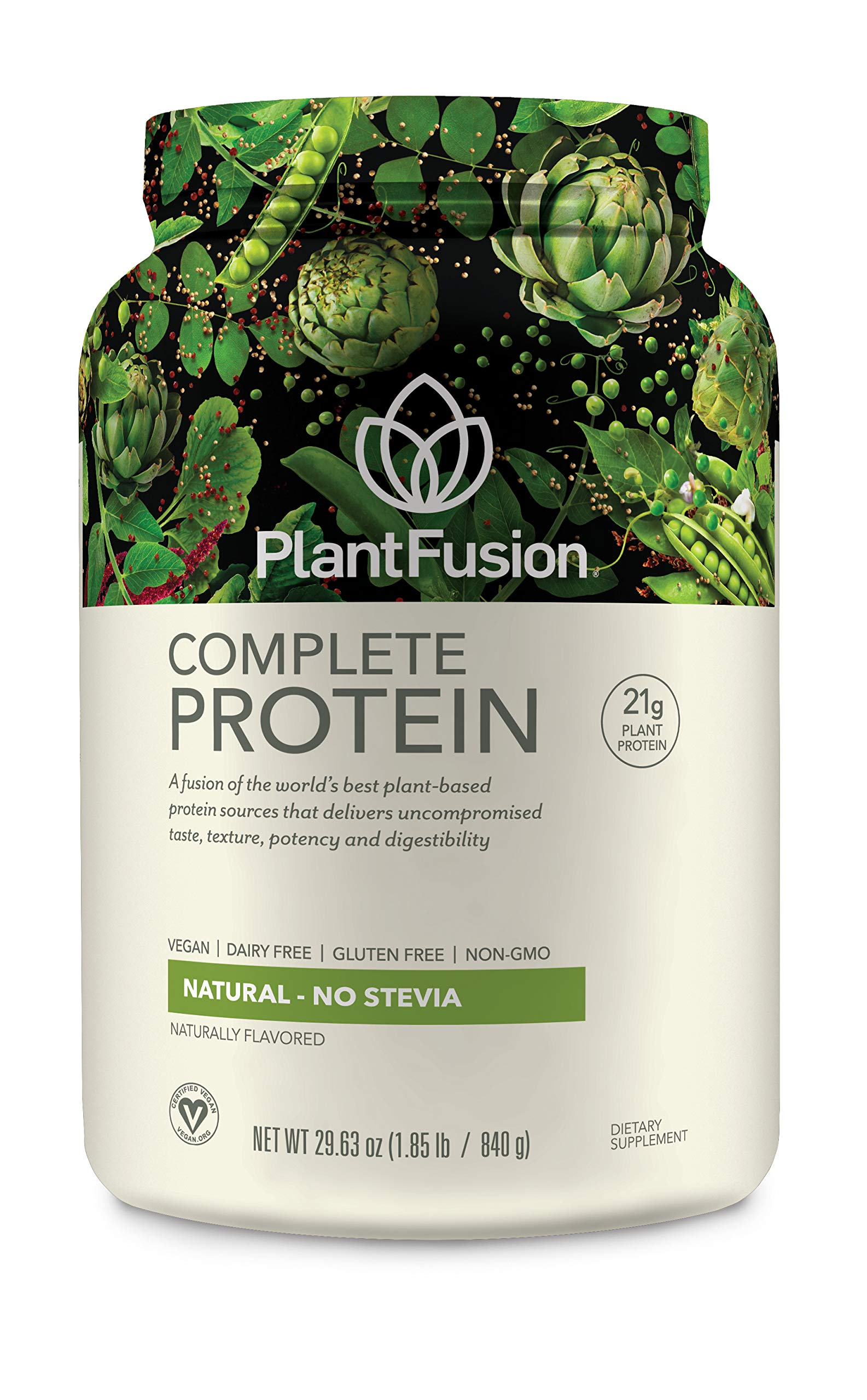 PlantFusion Complete Plant Based Protein Powder, Natural Unflavored, 2 Lb Tub, 30 Servings, 1 Count, Gluten Free, Vegan, Non-GMO, Packaging May Vary