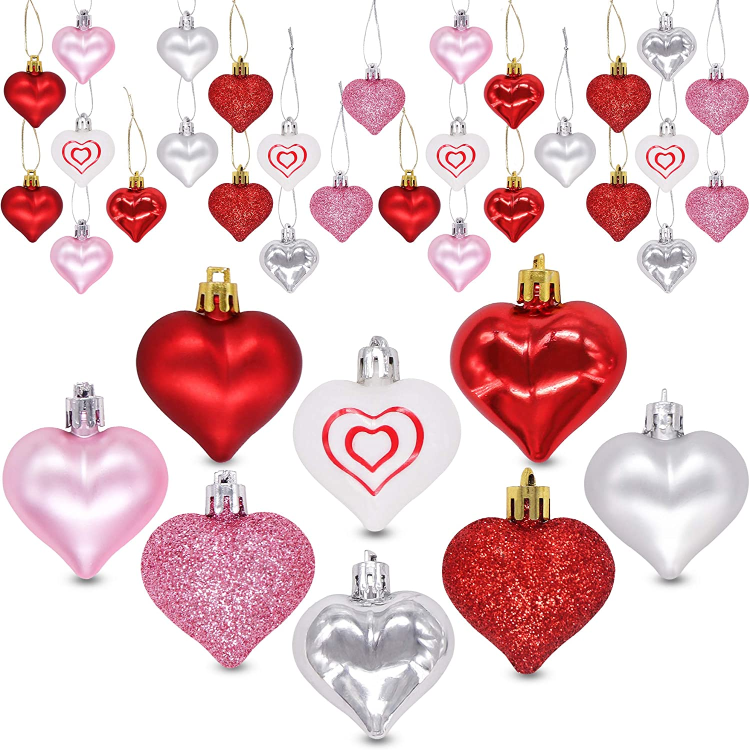 Ivenf Valentine's Day Decorations Heart Shaped Ornaments,36 Pcs Red Pink Silver White Plastic Hanging Baubles, Tree Ball Heart Glitter Decor for Home Party Decorations Gift