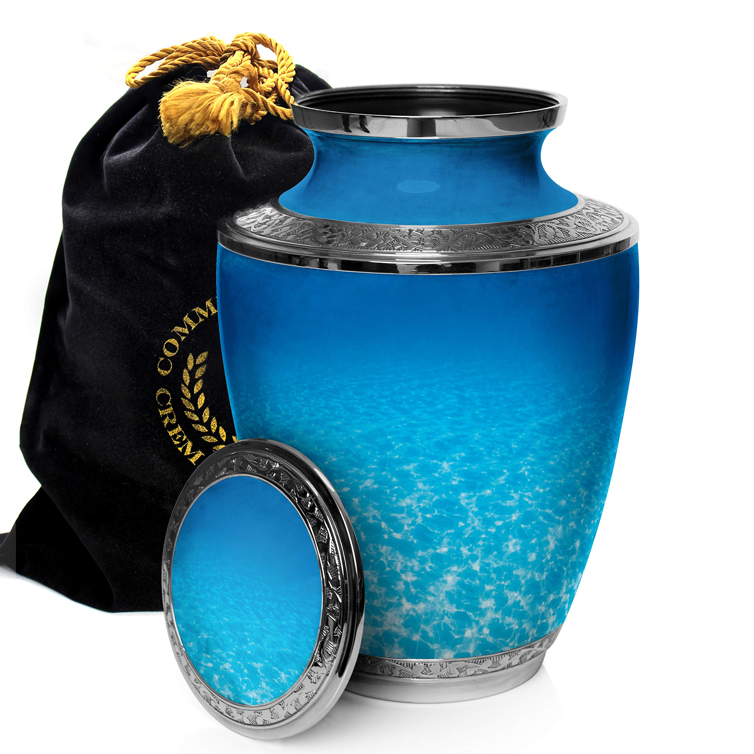 Ocean Tranquility Cremation Urns for Adult Ashes Ideal for Funeral, Burial, Columbarium or Home, Cremation Urns for Human Ashes Adult 200 Cubic Inches Urns for Ashes Large by Commemorative Cremation Urns (Image #3)
