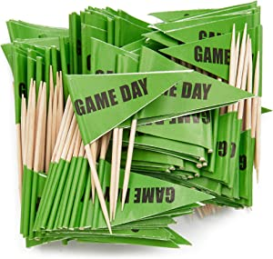 Sports Party Toothpicks for Appetizers (Green, 200 Pack)