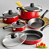 Nonstick 9-Piece Pots And Pans Cookware Set Cooking Red Set