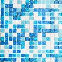 Vetro Mosaico MALIBU Mosaico De Vidrio, Mezcala Azul/Blanco