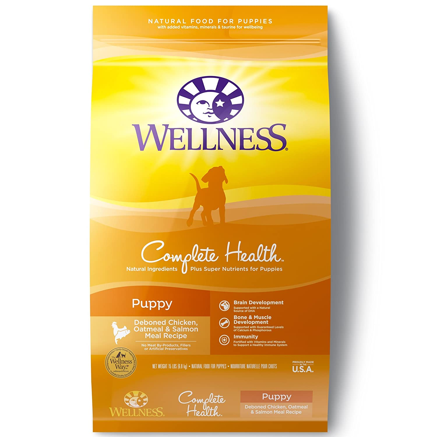 Wellness Complete Health Natural Dry Puppy Food, Chicken, Salmon Oatmeal, 15-Pound Bag