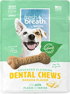 product image for Fresh Breath by TropiClean Dog Dental Care Banana Flavored Dental Chews for Dogs 5-25 Pounds, 20ct, 11oz - Helps Brush Away Plaque and Tartar — Made in the U.S.A.