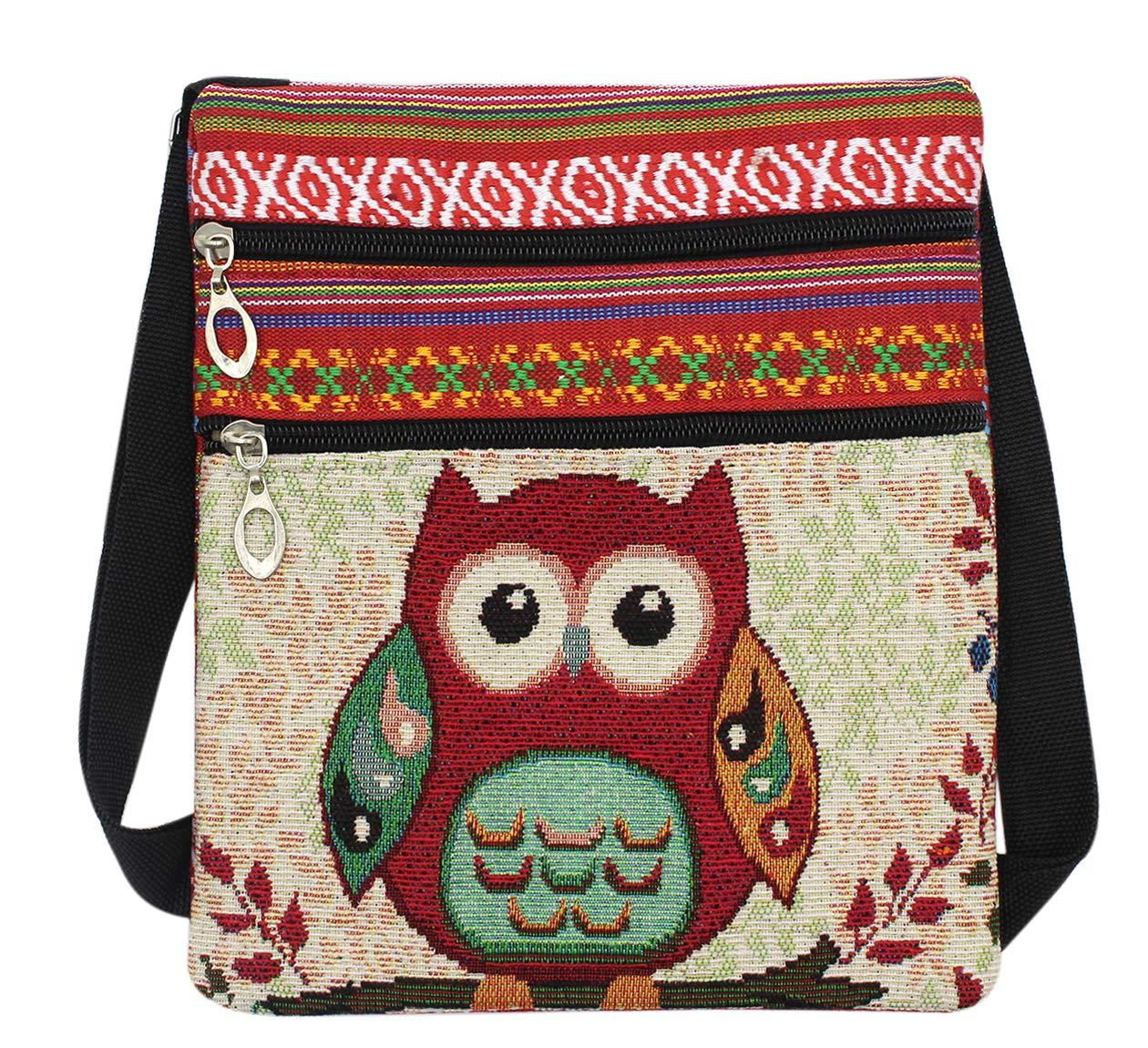 Girls Crossbody Bag Cute Owl National Style Canvas Shoulder Bag Phone Bag(Red)