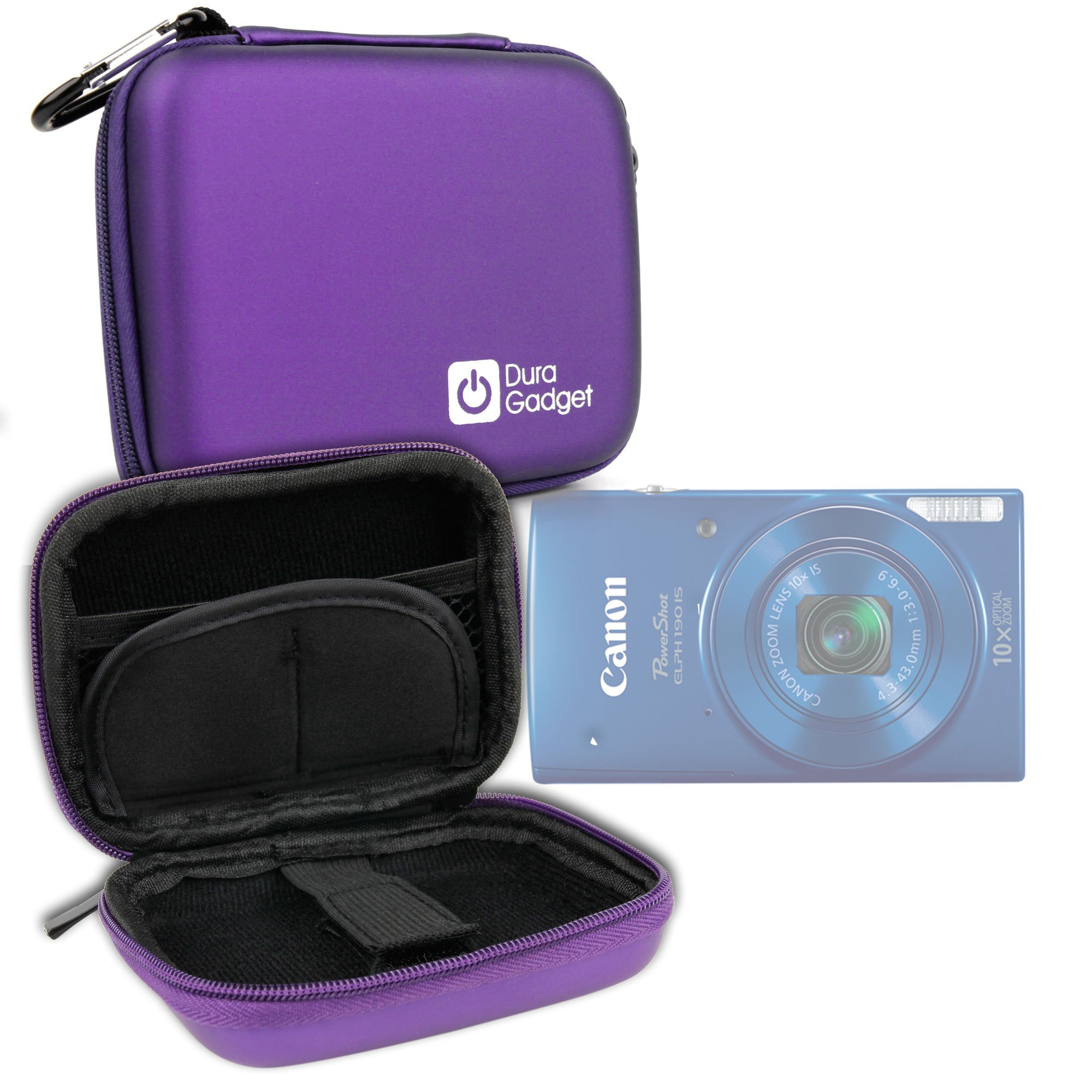 DURAGADGET Premium Quality Shock Absorbent Purple Hard Shell Case - Suitable for The Canon Powershot ELPH 360 HS| Powershot ELPH 300| Powershot ELPH 180| Powershot ELPH 190 is| by DURAGADGET