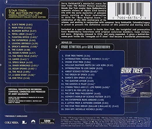 Jerry Goldsmith - Star Trek: The Motion Picture - 20th Anniversary Collector's Edition - Amazon.com Music