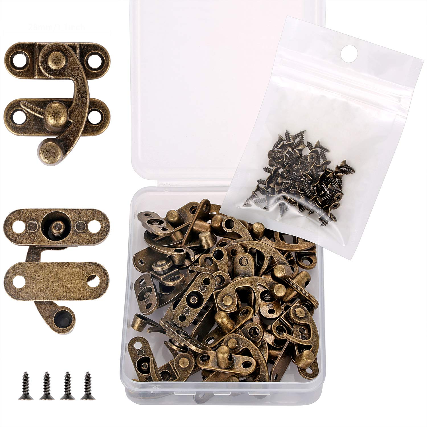 PGMJ 20 Pieces Thickened Solid Bronze Tone Antique Right Latch Hook Hasp Horn Lock Wood Jewelry Box Latch Hook Clasp and 80 Replacement Screws (Right Latch Buckle) by PGMJ