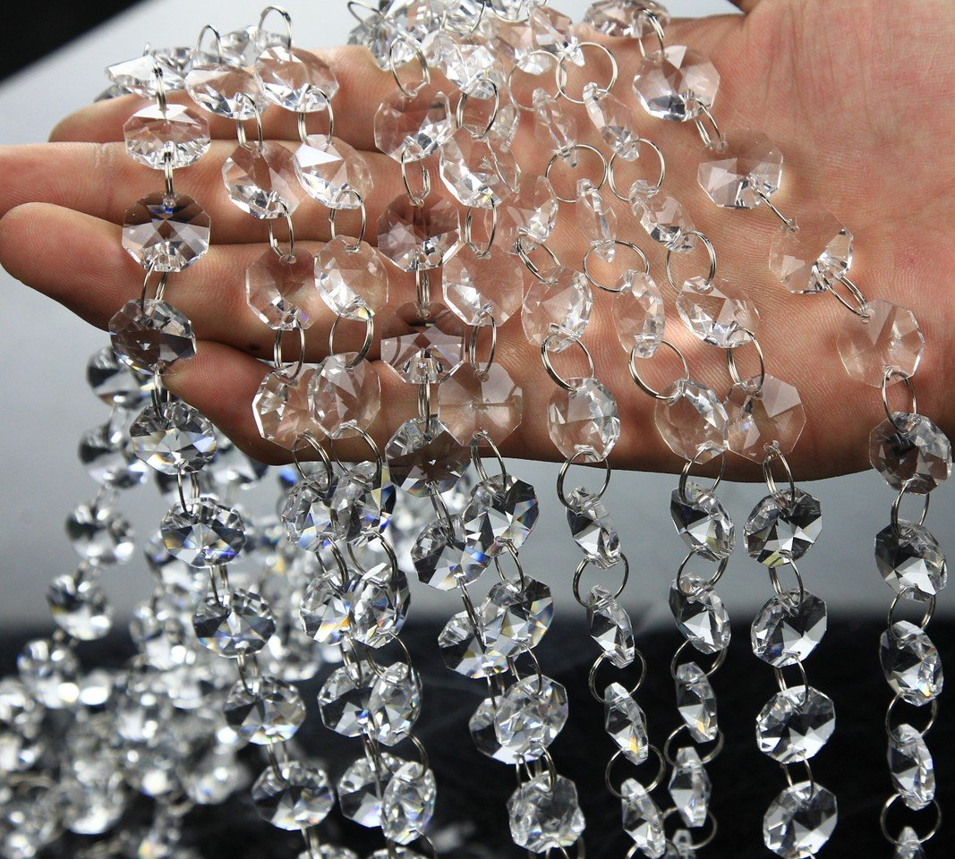 VOVOV 20FT Clear Crystal Garland Chandelier Octagon Beads Chain Beaded Trim