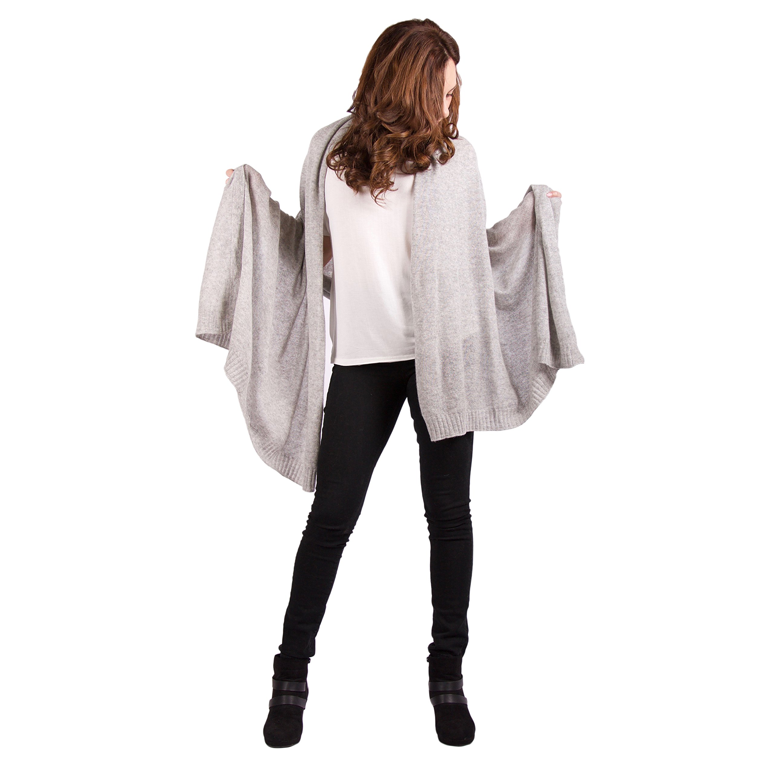 100% Cashmere Wrap ''Iman'' Classic Luxury Light Gray 72''x36'' Wrap by Lucky Bird Cashmere